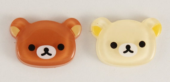 Kawaii and serious bear face cabochons - 2 piece set (17mm) - MMD