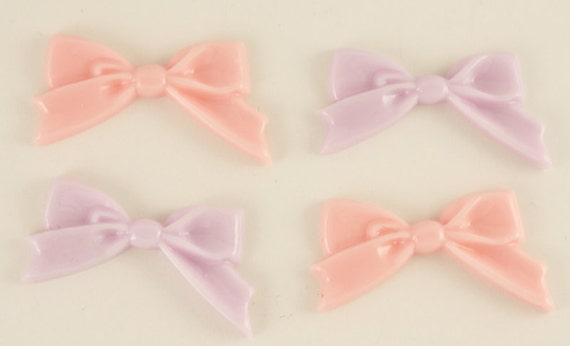 Classic and sweet pink & lavender bow cabochons - 4 piece set (45mm) - MMD