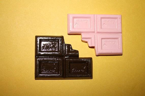 LARGE bitten chocolate bar cabochons - 2 piece set (49mm) - MMQ