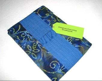 Laptop Sleeve in blue batik with Guatemalan sash trim, Padded Bag sized for MacBook Pro