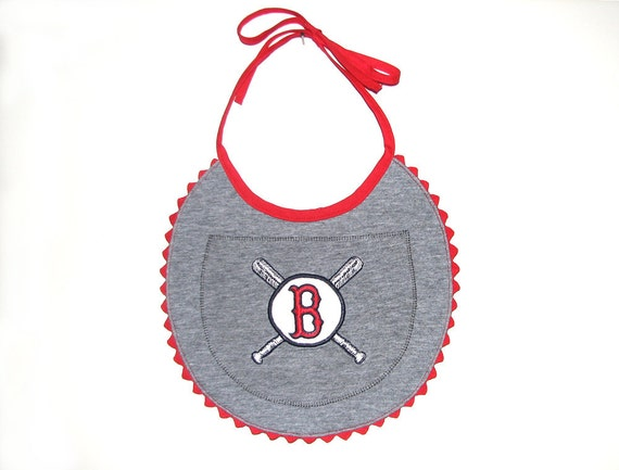 Baby Apron in Upcycled Red Sox t-shirt