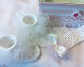 White TuTu Socks With Pink Gems And Matching Head Band Size 0 to 6 Months With Princess Keepsake Box