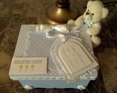 Personalized Blue And White Keepsake Box With Teddy Bear For Baby Boy