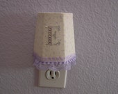 Shabby Chic Night Light with petite dainty Lavender color flowers on fabric