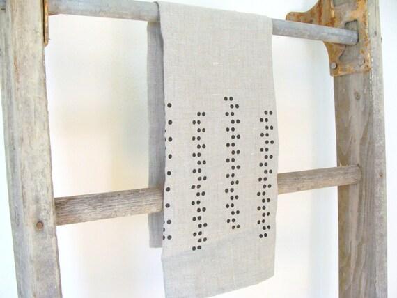 Natural Linen Screen Printed Kitchen Towel Modern Dot Vine