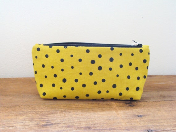 Screen Printed Polka Dots Linen Pouch Make Up Bag