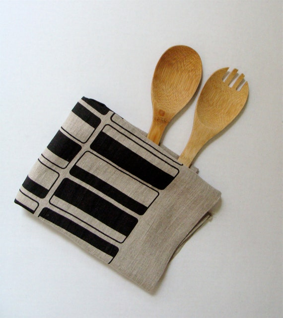 50% sale - READY TO SHIP - Tea Towel Linen Hand Printed Rectangles (Black Ink on Natural Linen)