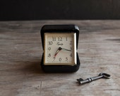 Travel Alarm Clock - Vintage Black Equity Wind Up - VintageParlorMens