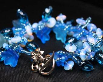 Moonlit:  Blue flower, blue crystal and moonstone bracelet