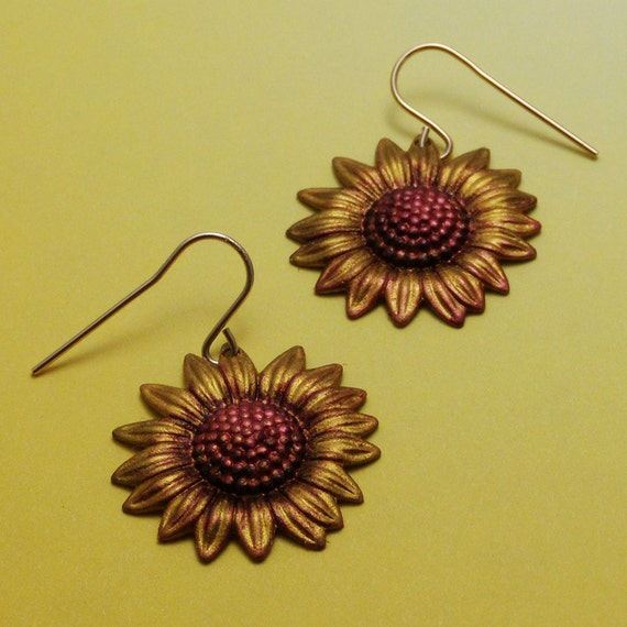 Hand Painted Harvest Sunflower Disc Earrings Gold Filled Brass Earwires