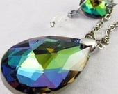 Teardrop Crystal Necklace. Stunning Glass Crystal Rainbow teardrop necklace. silver chain. octagonal crystal charms with teardrop beads