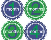 Baby Boy Monthly Onesie Stickers...Preppy Blues and Greens...New Favorite Baby Shower Gift for New Moms