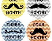 Mustache and Chevron Monthly Baby Stickers... Perfect Baby Shower Gift for the Trendy Couple and Baby Boy...Mustache Baby