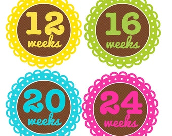 """Pregnancy or Baby Bump Stickers...Great Gift for the Expecting Mom...6 Bright Colors and a """"Due Today"""" Sticker"""