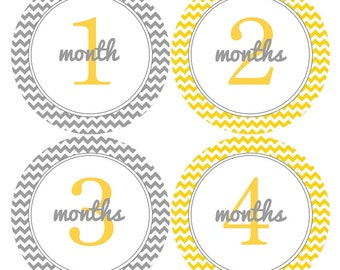 Neutral Baby Month Stickers Baby Monthly Stickers Boy Monthly Bodysuit Stickers Baby Shower Gift Photo Prop Baby Milestone Sticker