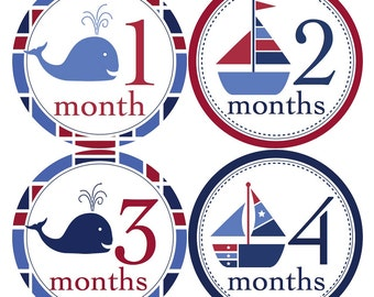 Baby Nautical Monthly Stickers...Sailboats and Whales...Perfect Baby Shower Gift for New Moms... Monthly Stickers - B119