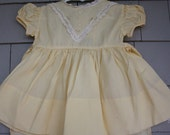 1950 Vintage C.I. Castro Baby Dress, in Yellow with Lace Trim - SZ. 12 M