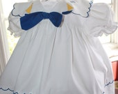 VTG 80's Baby Sailor Summer White Dress and Hat with Blue Bow and Embellishments - SZ. 6M