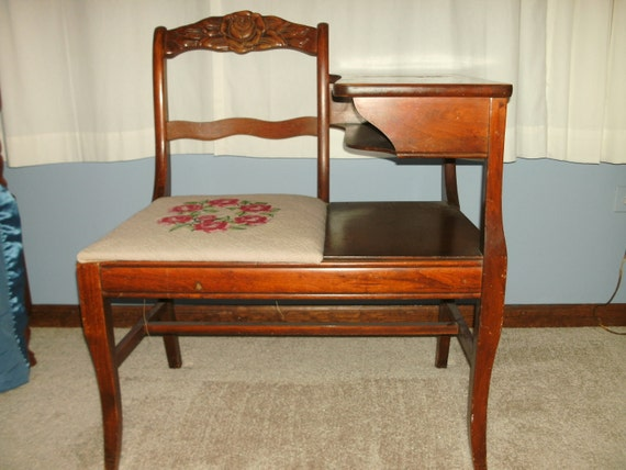 Items Similar To Antique Mahogany Gossip Bench Telephone Table With Needlepoint On Etsy