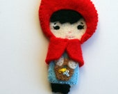 Felt hair clip Little Red Riding Hood