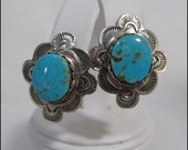 Old Pawn Style Vintage Navajo Turquoise and Sterling Earrings by Noted Artisan Alex Sanchez