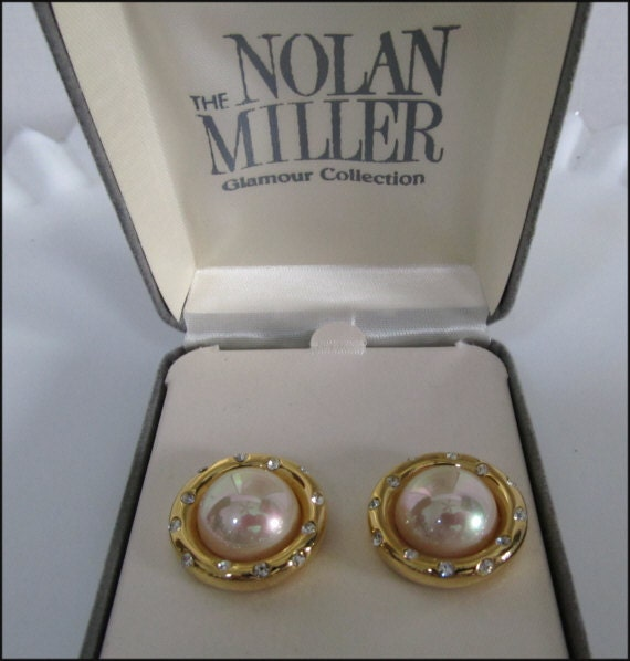 NOLAN MILLER Signed Lovely Vintage Pair Of Classy Clip Earrings Glamour Collection