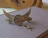 Tempus Fugit, Time Flies, Steampunk Barrette. Winged Watch Movement, Cogs and Keys.