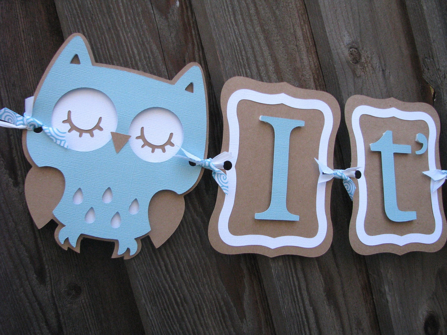 Blue and Kraft Brown It's A Boy Baby Shower Owl Banner