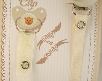 White Lacy 2 Ribbon Pacifier Clip (SOW)