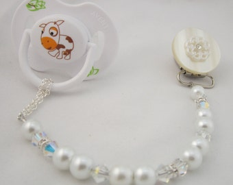 White Lacy Flower Pacifier clip with Stunning Pearls and Crystals (CLW)