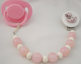 Pink Duck Pacifier clip with Wooden Beads (CDP)