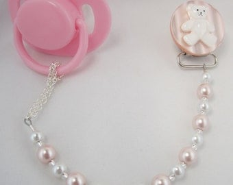 Pink Teddy Bear Pacifier clip with Pink and White Pearls (CTP)
