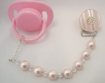 Pink Pacifier clip with Big Pearls and Swarovsky Crystals (CPCP)