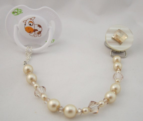 Beige Diamond Pacifier clip with Stunning Bling Beads and Pearls (CBLG)