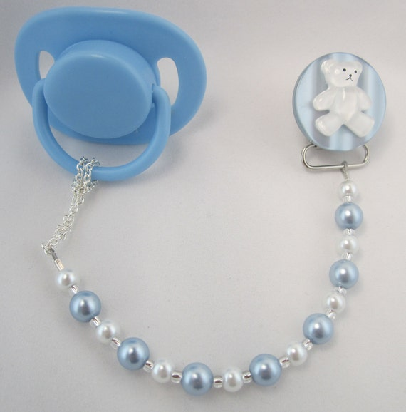 Blue Teddy Bear Pacifier clip with Blue and White Pearls (CTB)