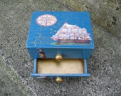 Wooden,crackled, nautical themed jewelry box with pull out drawer and two swarovski crystals