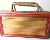 Vintage 1950's straw case/ cigarbox handbag