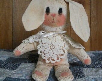 Hand Painted and Antiqued Muslin Fabric Bunny Rabbit Plush Animal
