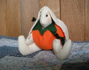 Small Muslin Bunny In a Pumpkin Jack-O-Lantern Outfit