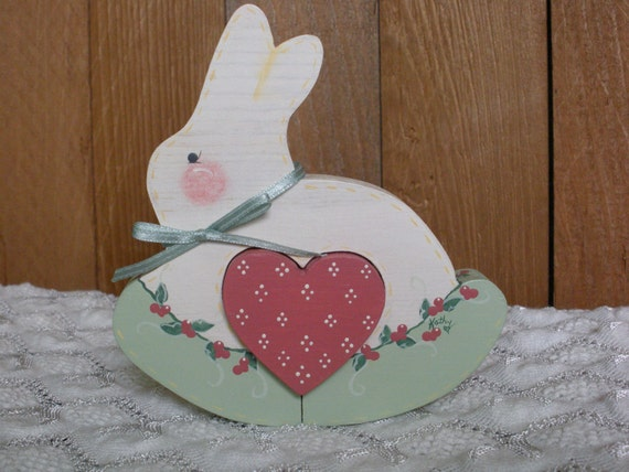 Wooden White Bunny Rabbit With Pink Heart Cut Out