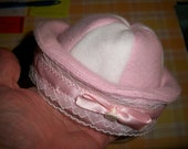 Fleece Hat with Decoration / Pink or Blue / Made to Order