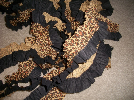 Two Layer Ruffled Crepe Paper Streamer in Leopard and Black RESERVED FOR BRANDI