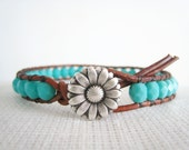 Handmade Leather Beaded Bracelet - Turquoise Boho Bohemian Adornment
