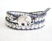 Leather Wrap Bracelet - Silver Czech Glass Beads Double Wrap  Leather Bracelet Silver Elephant Button