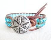 Leather Beaded Bracelet -  Aqua Czech Glass Silver Sand Dollar Button Boho Bohemian  Shabby Chic