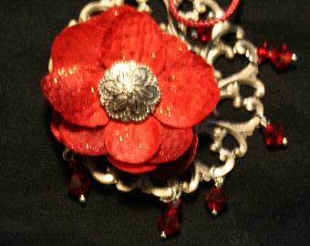 Red silk flower pendant