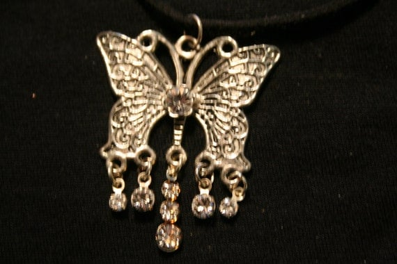 Nice Butterfly pendant with rhinestone dangles