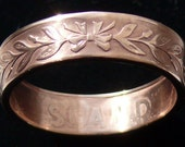 Bronze Coin Ring 1965 Iceland 5 Aurar - RIng Size 8 1/4 and Double Sided