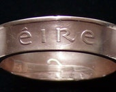 Bronze Coin Ring 1975 Ireland 2 Pingin - Size 10 and Double Sided