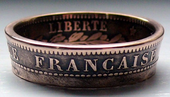 Bronze 1890 France 5 Centimes Double Sided Coin Ring Size 8